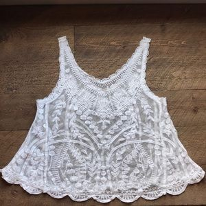 Vintage White Lace Embroidered Tank Top